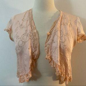 Vintage 1940's Bed Jacket, Silk, XS, Pink/Peach